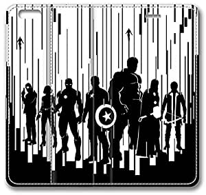 "Avengers 2 Age Of Ultron Artwork iPhone 6 Plus Plus Case, Leather Cover for iPhone 6 Plus (5.5"") Premium Soft PU Leather Wallet Cover - Verizon, AT&T, Sprint, T-Mobile, International, and Unlocked with Black PC Hard Case Inside for iPhone 6 Plus by iCustomonline"