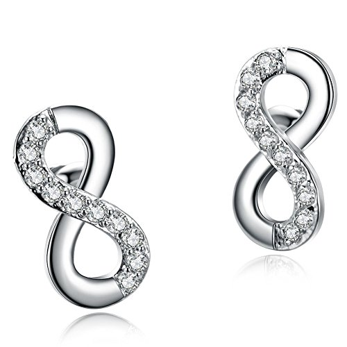 Godyce Infinity Symbol Earrings Studs Sterling Silver Plated Zircon for Women Girl Silver Jewelry with Branded Gift Box