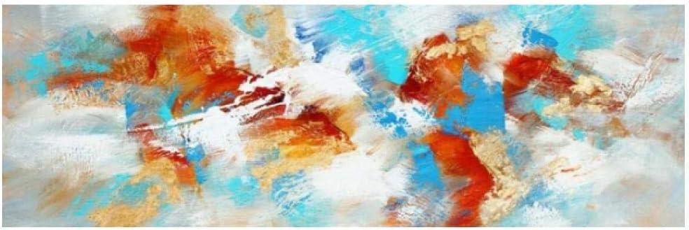 Jwqing Pintura Abstracta Moderna sobre Lienzo Carteles e Impresiones Arte de la Pared Pintura Cuadros Abstractos Multicolores para la decoración de la Sala de Estar (50x150cm sin Marco)