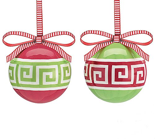 greek key geometric christmas tree 3 ball ornament set of 2 xmas holiday novelty hanging decoration accessory amazoncouk kitchen home - When Is Greek Christmas