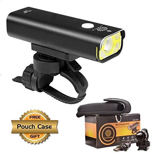BrightRoad - USB Rechargeable Bike Light: Super Bright 800 Lumens Front Bike Flashlight, 360Fully Adjustable Led Headlight, IPX6 Waterproof & Rainproof + Free Case Pouch, 1 Year Warranty - black