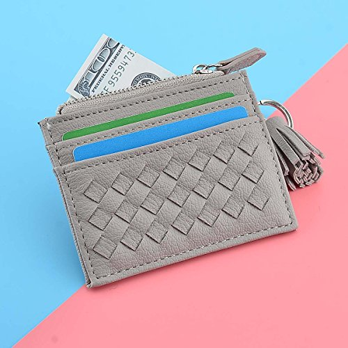 RFID Blocking Genuine Leather Compact Card Wallet Credit Card Case Organizer with Key Ring (Grey) by XeYOU (Image #3)