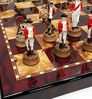 "American Revolutionary Independence War Chess set W/ 18"" Cherry & Burlwood Color Board"