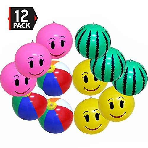 Yarssir Inflatable Beach Balls Pool Party Balls Pool Toys for Kids Water Fun Play in Summer 12 Pack, Rainbow/Yellow and Pink Smile Face/Watermelon(Multicolor)