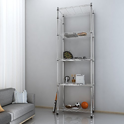 Multifunctional 5 Tier Steel Shelving Storage Rack 72inch Height with Wheels for Kitchen Balcony Living Room