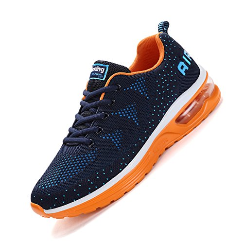 Fashion Mesh Sneakers Blue Gym Running Shoes Athletic JEDVOO Orange Trainers Mens Outdoor Shoes Womens Sports Walk qEvPHF