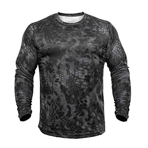 Kryptek Hyperion LS Crew - Long Sleeve Camo Hunting & Fishing Shirt (K-Ore Collection), Typhon, XL