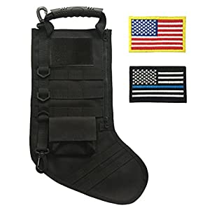 SPEED TRACK Tactical Christmas Xmas Stocking with Handle, Perfect Gift for Veterans and Outdoorsy People