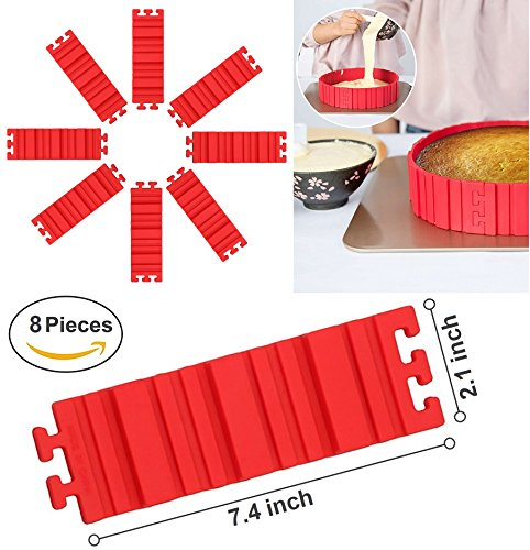 Magic Cookie Baking Kit (Flexible Silicone Baking Cake Mold (8 Pieces) - Magic Bake Snake DIY - Create & Design Any Shaped Cake Pizza Bread With Non-Sticking Baking Tools)