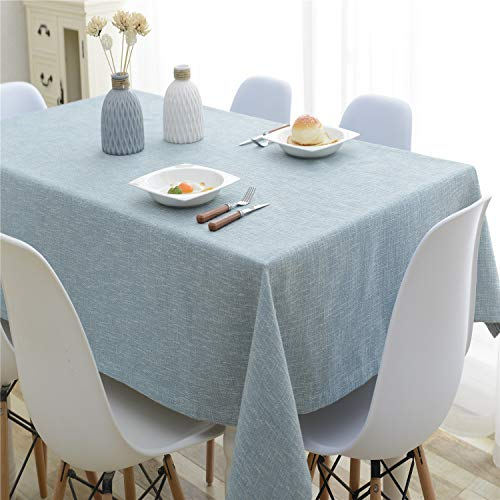 HSYLYM Tablecloths for Rectangle Tables Cotton Linen Fabric Wear Resistant Table Cover Perfect for Table Protector,Blue,52x79in(132x200cm)