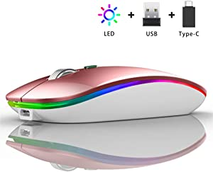 LED Wireless Mouse, Uiosmuph G12 Slim Rechargeable Wireless Silent Mouse, 2.4G Portable USB Optical Wireless Computer Mice with USB Receiver and Type C Adapter (Rose Gold)