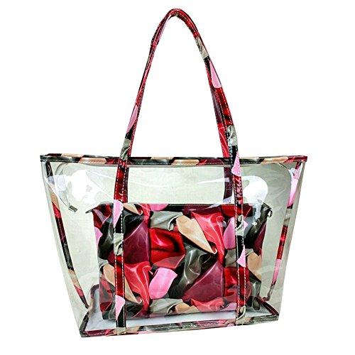 Top Shop Womens Hobos Printing Casual Tote Transparent Handbag Messenger Red Composite Bags