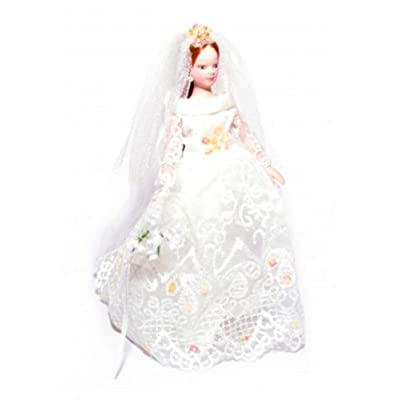 Melody Jane Dollhouse Bride w Long Hair Porcelain Wedding Figure Lady Woman: Toys & Games