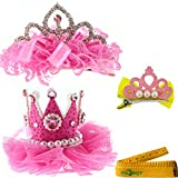 2 Pcs Adorable Cute Cat Dog Pet Birthday Party Crown Shaped Lace Hair Clips and 1 Pcs Crown Shaped Clip for Kitten Puppy Small Dogs Cats Pets (D)