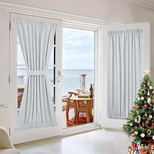 Room Darkening Patio Door Panel - Room Darkening French Door Thermal Blackout Curtain/Drape/Drapery (54 inches Width x 72 inches Length, Platinum-Greyish White, 1 Panel)