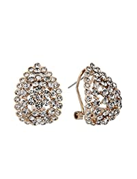 BriLove Women's Wedding Bridal Crystal Pave Teardrop Clip-On Earrings