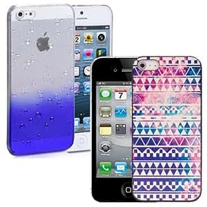 Nuevos 2 piezas funda transparentes gotas de lluvia y Aztec ultra delgado Cover Por iPhone 4s - Azul/Retro Aztec & Screen Protector & Stylus