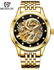 KDJSTORE Luxury Mens Skeleton Automatic Mechanical Wrist Watch Dragon Stainless Steel Band (Gold Band)