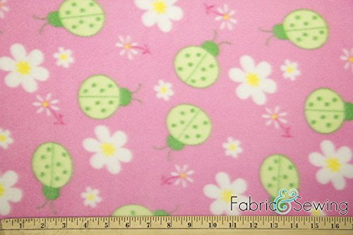 - Snug as a Pink Ladybug Anti-Pill Polar Fleece Fabric Polyester 13 Oz 58-60