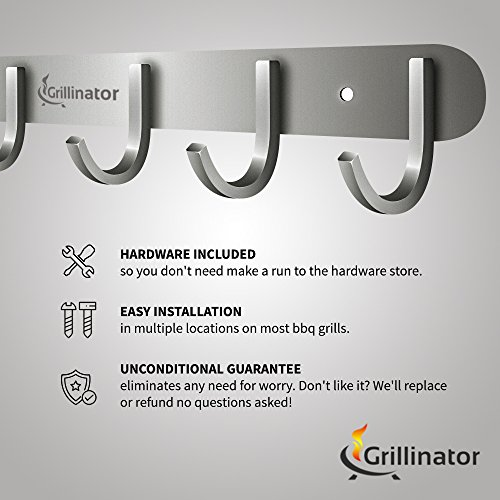 Grillinator BBQ Tool Rack - Polished Stainless Steel 6 Hook Storage for Grilling & Cooking Utensils - Easy to Install - Gas, Charcoal & Electric Grills - Indoor or Outdoor Use by Grillinator (Image #2)