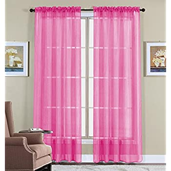Amazon.com: 2 Piece Solid Hot Pink Sheer Window Curtains/drape ...