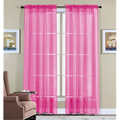 WPM 60 X 63 Inches Sheer Window Elegance Curtains Drape Panels Treatment Pink