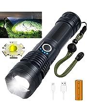 Oplaadbare LED-zaklampen, 3000 Lumen Superheldere Zoombare Waterdichte Zaklamp met 26650 Batterijen Inbegrepen en 5 Standen, Draagbare Zaklamp voor Kamperen, Wandelen, Noodgevallen