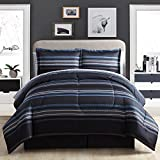 8 Piece Nautical Stripes Pattern Comforter Set Queen Size, Elegance All Over Sporty Stripe Inspired Plaid Design, Checkered Reversible Bedding, For Modern Stylish Bedrooms, Black Blue Grey, For Boys