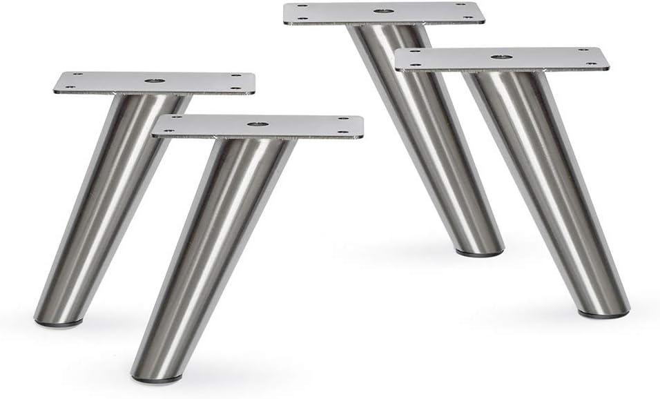 "Slant Furniture Metal Legs - Set of 4 New (Brushed Nickel 5""H)"