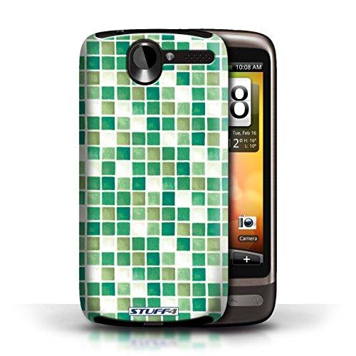Etui / Coque pour HTC Desire G7 / Vert/Blanc conception / Collection de Carreau Bain