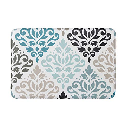 (Scroll Damask Lg Pattern Teals Browns White Bathroom Bath Door Mat Rug 16×24 inch)