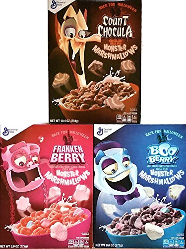 Monster Cereals 2017 3 Pack Count Chocula, Frankenberry, Boo Berry - Back for Halloween! (General Mills Halloween Cereal 2017)