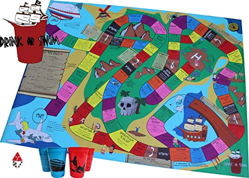 Drink or Swim - X-Large Strategy Party Board Game. 70 Unique Games for People Who Like Beer Pong, Flip Cup, and King's Cup. Beer Board Game Party idea. Gift for him, Gift for her