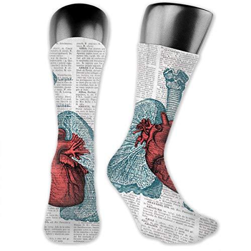 Yuotry Unisex Performance Cushion Crew Socks Tube Socks Newspaper Lungs New Middle High Socks Sport Gym -