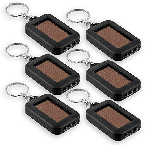 CN-Culture LED Keychain Flashlight,Mini Solar Powered Keychain Light Key Ring (Black), 6 Pack