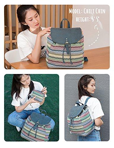 Canvas for Lightweight Backpacks Lily Teen Queen Bags Women Casual School Green Strip Girls Aqn6a
