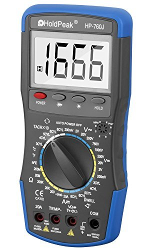 Holdpeak 760J Digital Multimeter with Ohm Volt Amp and Diode Test –Measuring DC & AC voltage,current, resistance, Temperature, Diode test, Continuity Test ,Tachometer,Dwell,Transistor hFE Test