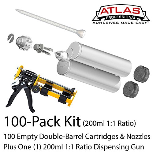 Atlas Pro 200ml-6.8oz Empty 1:1 Ratio Dual-Barrel Cartridge kit with gun & nozzles-100-Pack by Atlas