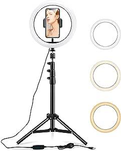 """ESR Luz TIK Tok 10"""" LED Anillo de Luz, Aro de Luz con Trípode y Soporte para Teléfono Móvil, 3 Modos de Luces para Tiktok Live, Vlogs, Youtube, Selfies, Maquillaje y Fotografía, Intensidad Regulable"""