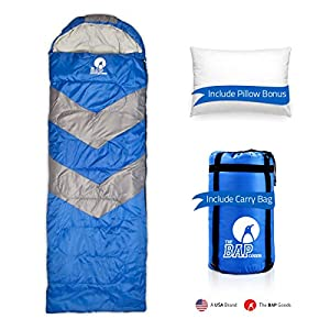 Sleeping Bag Outdoor Camping Extra Wide - For Men Women & Adults 210T Ripstop Compact Envelope Sleep Bag W/Pillow & Strong Zipper 300 Gsm For Autumn, Summer &Spring - Blue
