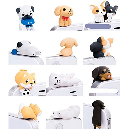 - iAnko 6 Pcs (Whole Set) Cute Little Puppy Dust Plug Stopper Universal 3.5mm Anti Dust Earphone Jack Plug Cap for Iphone4/4s/5/6/6 Plus,iPod,ipad,HTC,Samsung S3 S4 S5