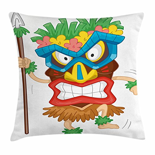 Tiki Bar Decor Throw Pillow Cushion Cover by Ambesonne, Native Man Wearing Mask Illustration Cartoon Tribal Costume Primitive Ritual, Decorative Square Accent Pillow Case, 18 X 18 Inches, Multicolor
