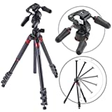 3Pod Orbit Aluminum Tripod for DSLR Photo & Video Cameras, 4 Section Extension Legs, with 3-Way Head, Bubble Level, with Bag. 69''