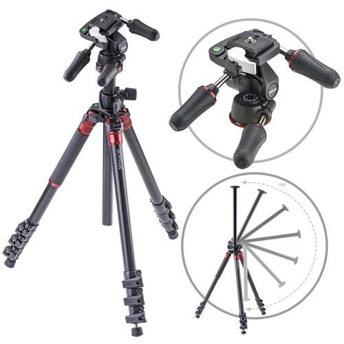 3Pod Orbit Aluminum Tripod for DSLR Photo & Video Cameras, 4 Section Extension Legs, with 3-Way Head, Bubble Level, with Bag. 69