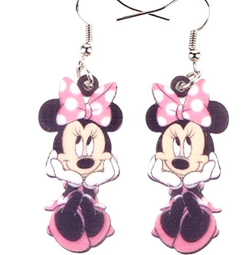 Adorable Acrylic Minnie Mouse in Pink Earrings French Hook