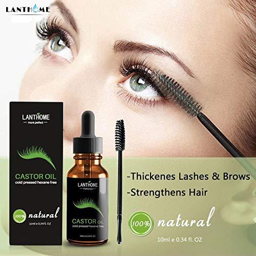 KOBWA - Sérum de crecimiento de pestañas 100% puro aceite de ricino - estimule el crecimiento para el pelo, pestañas, cejas, hidratar la piel, evita marcas ...