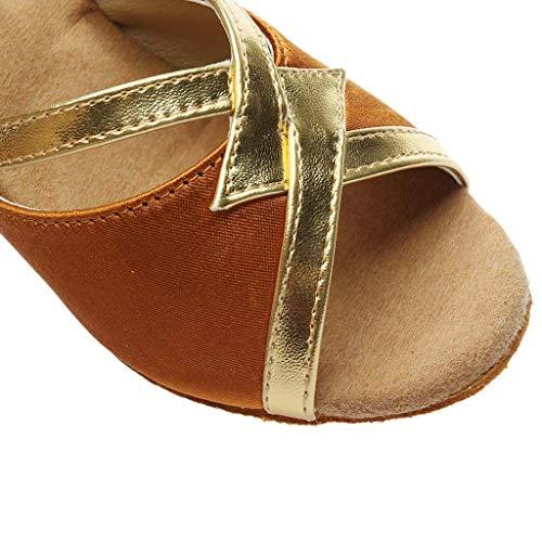 Rumba Mode Chaussons Sandales Manadlian Hauts Valse 5cm Salle Chaussures Salsa Danse Talons Bal Escarpins À Latine De Marron Femmes 0aaqwEd