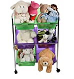 Mind Reader 6 Drawer Childrens Rolling Toy Storage Organizer, Multi-Colored Bins and Caster Wheels