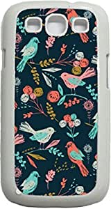 Colorful Birds Pattern- Case for the Samsung Galaxy S3 i9300 -Hard White Plastic Case