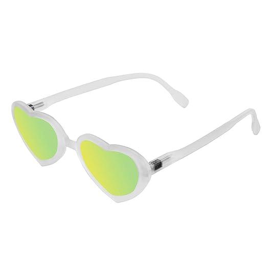 f0b80ffb49ae9 Lunettes de soleil originales en forme de coeur Read Loop Flamingo rétro  verres miroités 100% protection UV (Blanc)  Amazon.fr  Vêtements et  accessoires